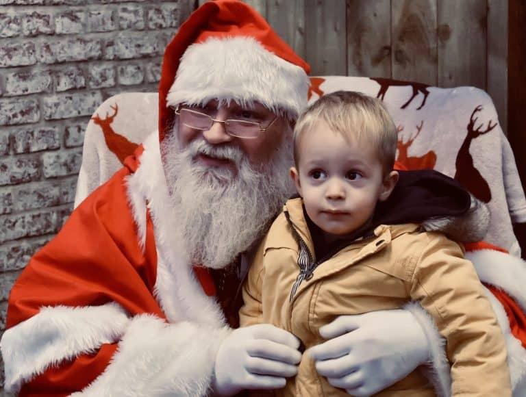 Little boy on Santa's knee
